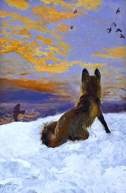 Island Fox snow Maine Winter Jamie Wyeth print