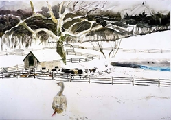 Jamie Wyeth print, The Goose with Blue Eyes, farm, snow, galloway cows