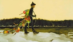 Jamie Wyeth print, The Mainland, Maine, rocks, collecting, bouys, winter