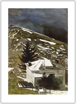 Wolf Moon Andrew Wyeth print house moonlight night snow